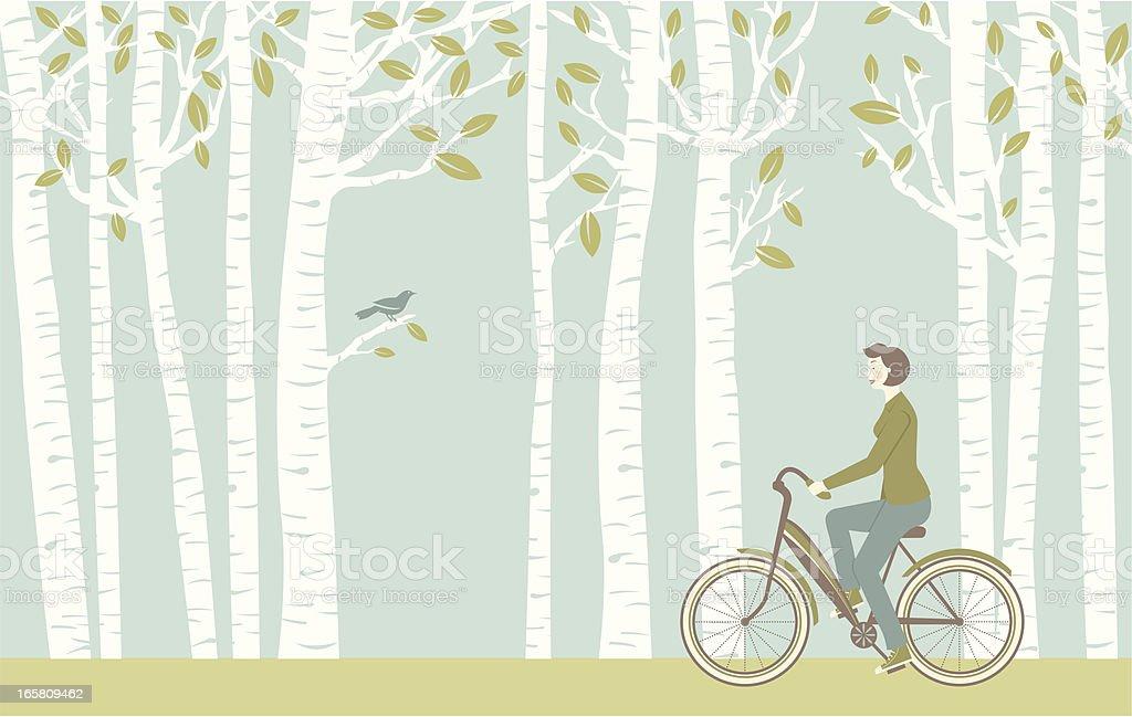 Spring Ride vector art illustration