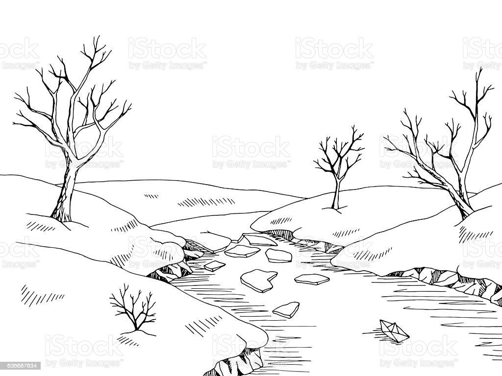 spring river graphic black white landscape sketch
