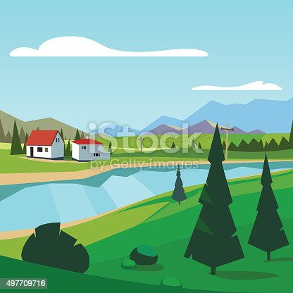 Spring rural farm riverside scenic with mountains in background. Flat style vector illustration.