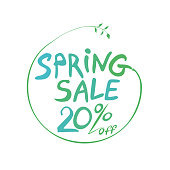 Spring Sale 20% off hand drawn inscription round symbol. Vector green handwriting template.