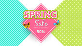 Spring sale background banner with beautiful colorful butterfly. Vector illustration
