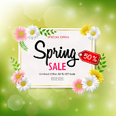 Vector illustration of Spring sale background banner with beautiful colorful flower
