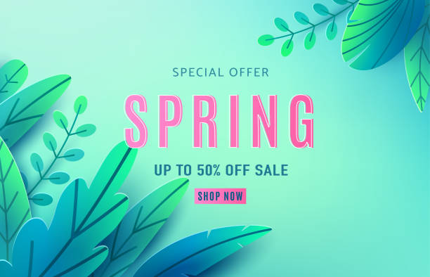 Spring sale background banner with fantasy leaves. Paper cut style with copy space, corner composition. Vector illustration springtime template for flyers, poster, brochure, voucher discount Spring sale background banner with fantasy leaves. Paper cut style with copy space, corner composition. Vector illustration springtime template for flyers, poster, brochure, voucher discount. spring stock illustrations