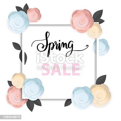 istock spring sale background, flower spring 1080648870