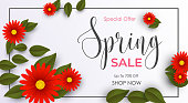 Vector illustration of Spring sale background with beautiful red flowers and green leaves