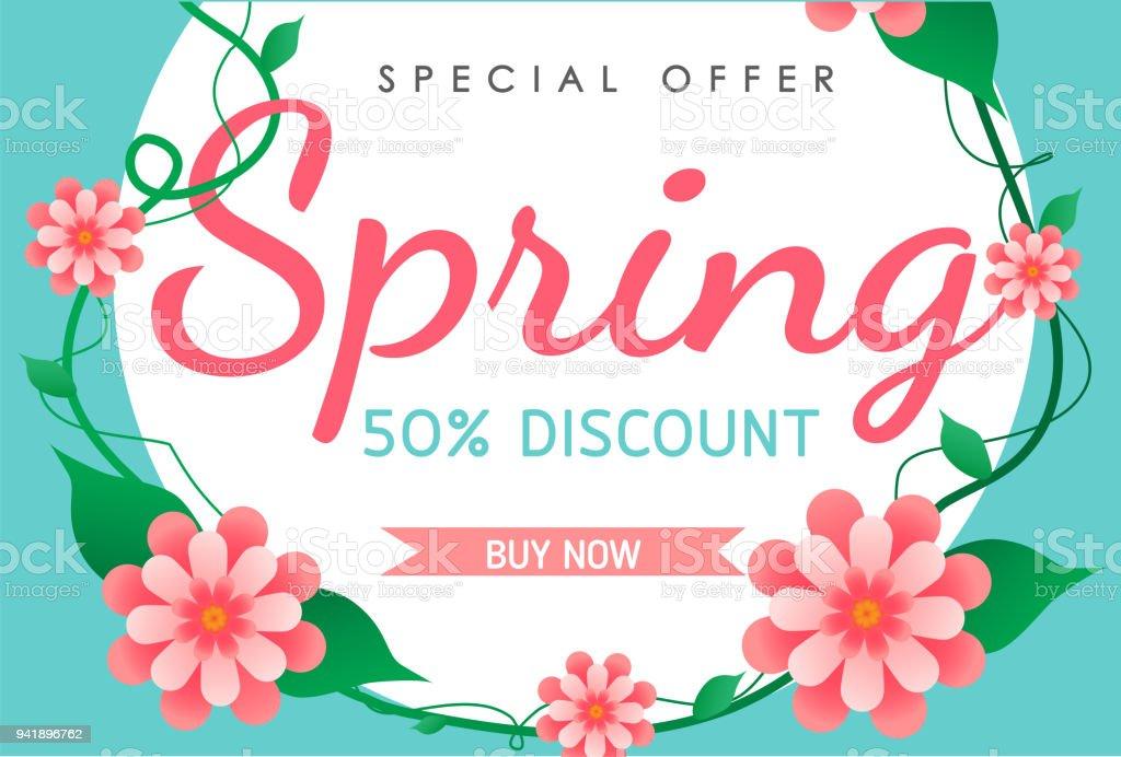 Frühling Verkauf Hintergrund Vektor Illustration Vorlage Blumen Oder ...