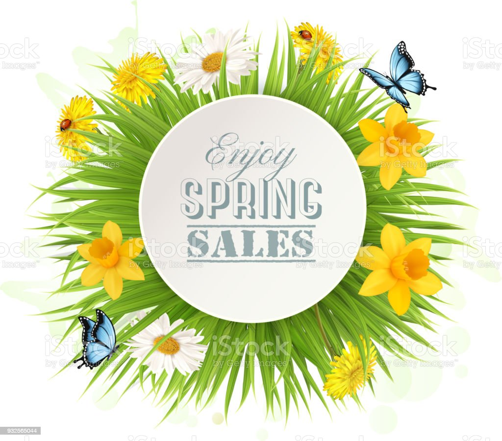 Spring Sale Background With A Green Grass And Flowers Vector Stock Illustration Download Image Now