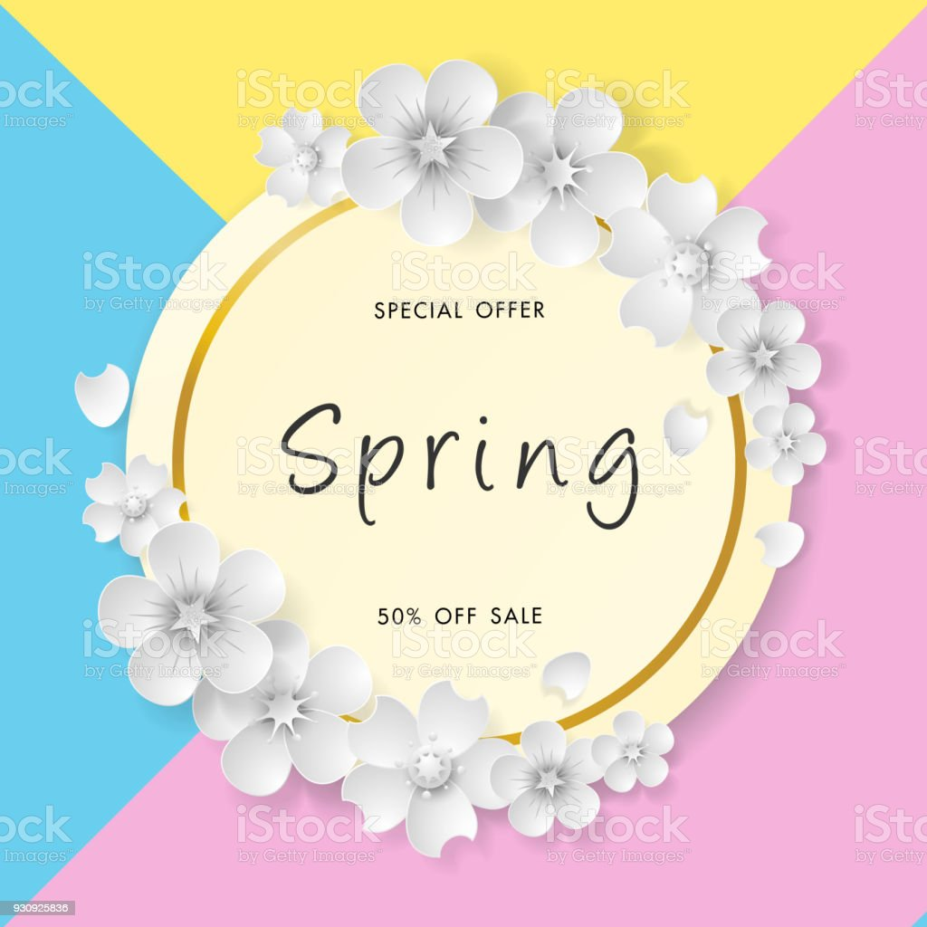 Spring Sale Background With Beautiful Flower Vector Illustration