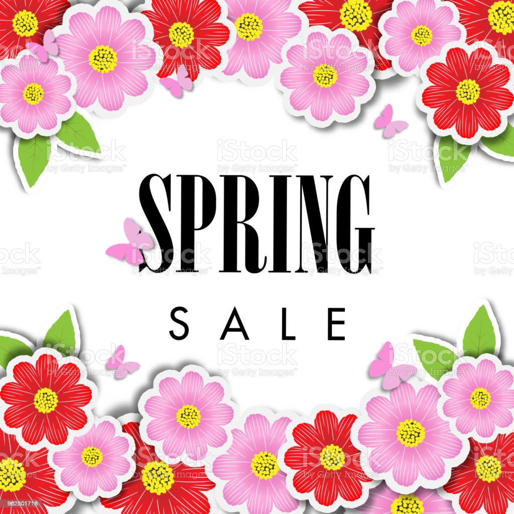 Spring sale background with beautiful flower, vector illustration template - Royalty-free Art stock vector