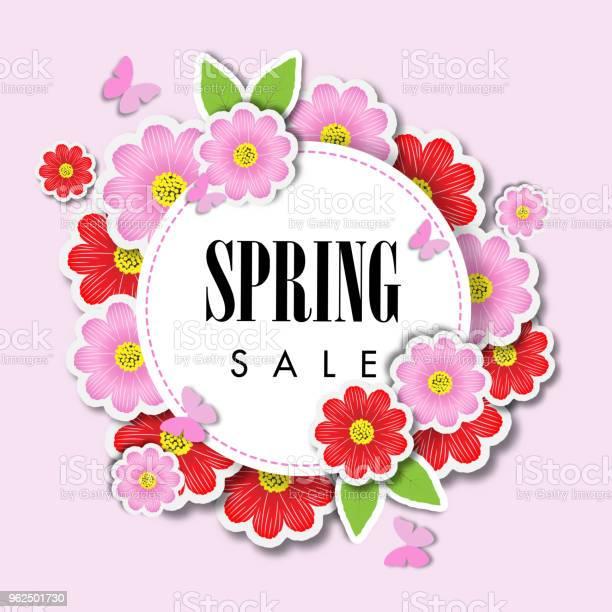 Vetores de Fundo De Venda Primavera Com Flor Bonita Modelo De Ilustração Vetorial e mais imagens de Arte