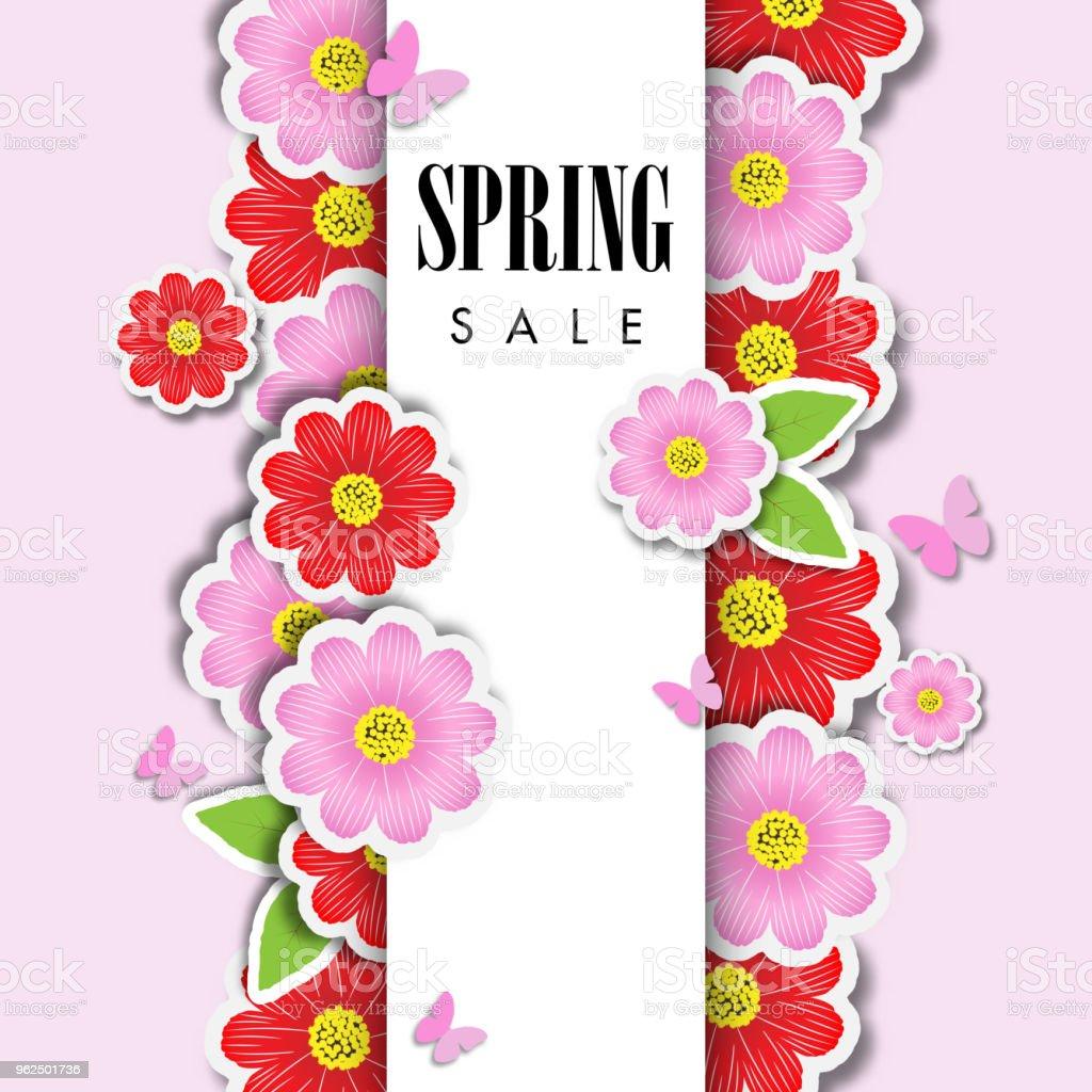 Fundo de venda primavera com flor bonita, modelo de ilustração vetorial - Vetor de Arte royalty-free