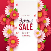 Spring sale background with beautiful flowers. Vector illustration.