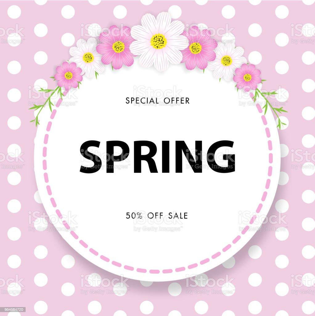 春の美しい花ベクトル イラスト テンプレートバナー広告販売背景壁紙