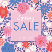 Spring sale background with flowers frame. - Illustration