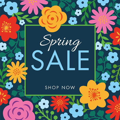 Spring sale background with flowers frame.