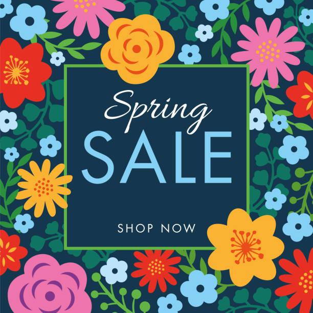 illustrations, cliparts, dessins animés et icônes de contexte de vente printemps avec cadre de fleurs. - printemps