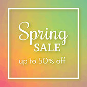 Spring sale banner and up to 50% off sign on colorful polygonal background. Vector illustration