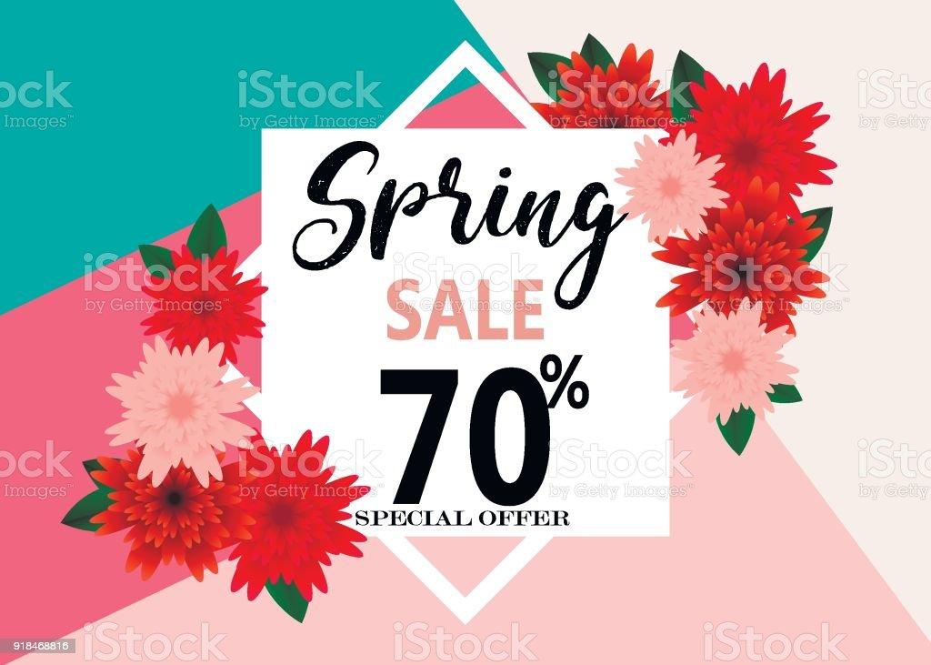 spring sale banner paper flower on colorful background royalty free spring sale banner paper
