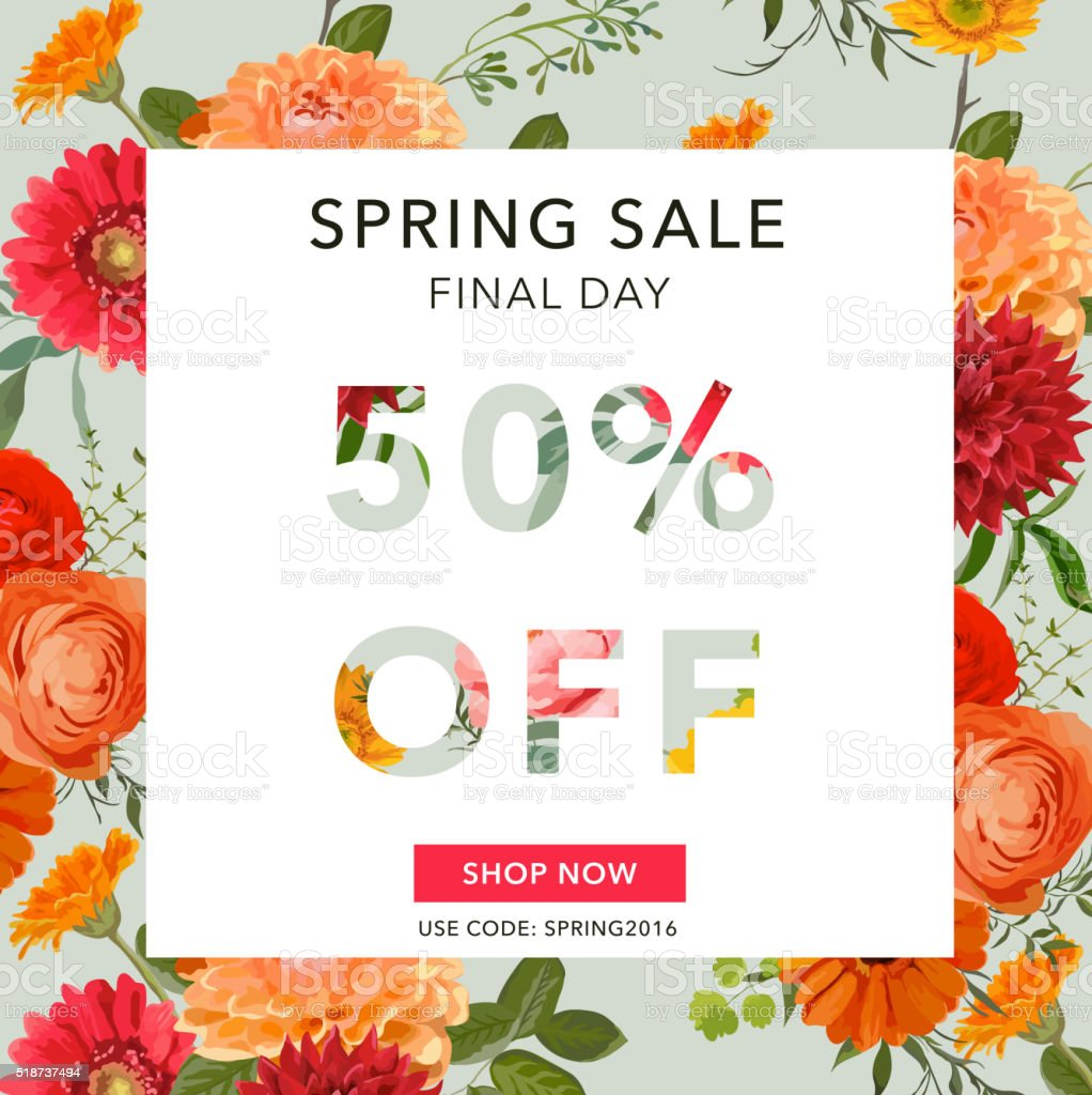 Spring Sale Banner. Sale background. Big sale. Floral Sale Tag vector art illustration