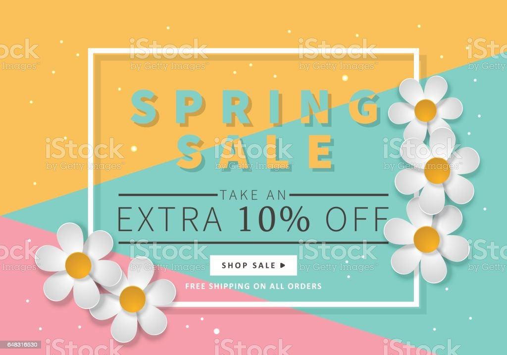 spring sale banner template for social media and mobile apps with