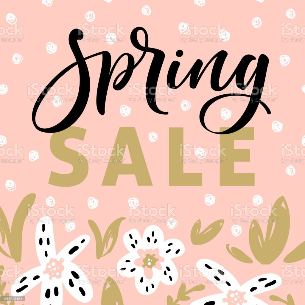Spring sale banner template with blossom flowers and modern brush calligraphy for online shopping, vector illustration. vector art illustration