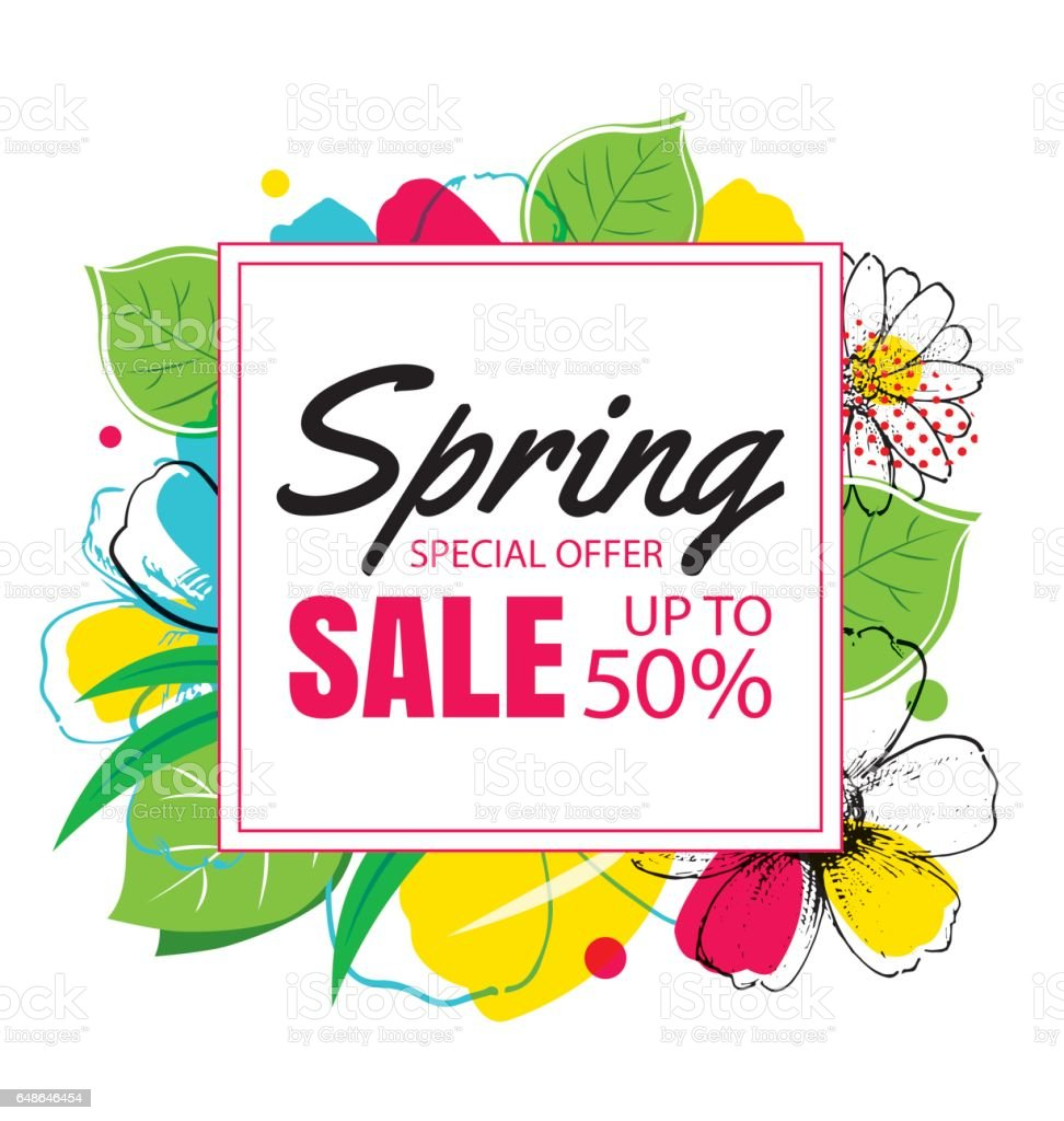 Spring Sale: Spring Sale Banner Template With Colorful Flowercan Be Use