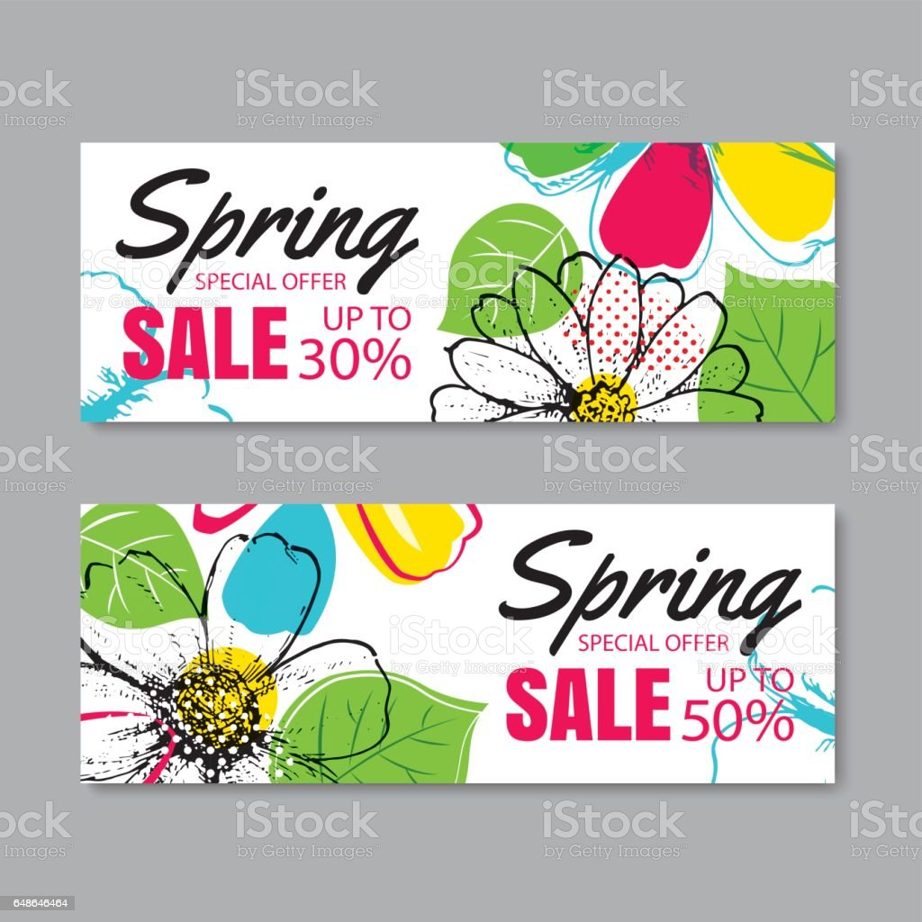 spring sale banner template with colorful flowercan be use voucher