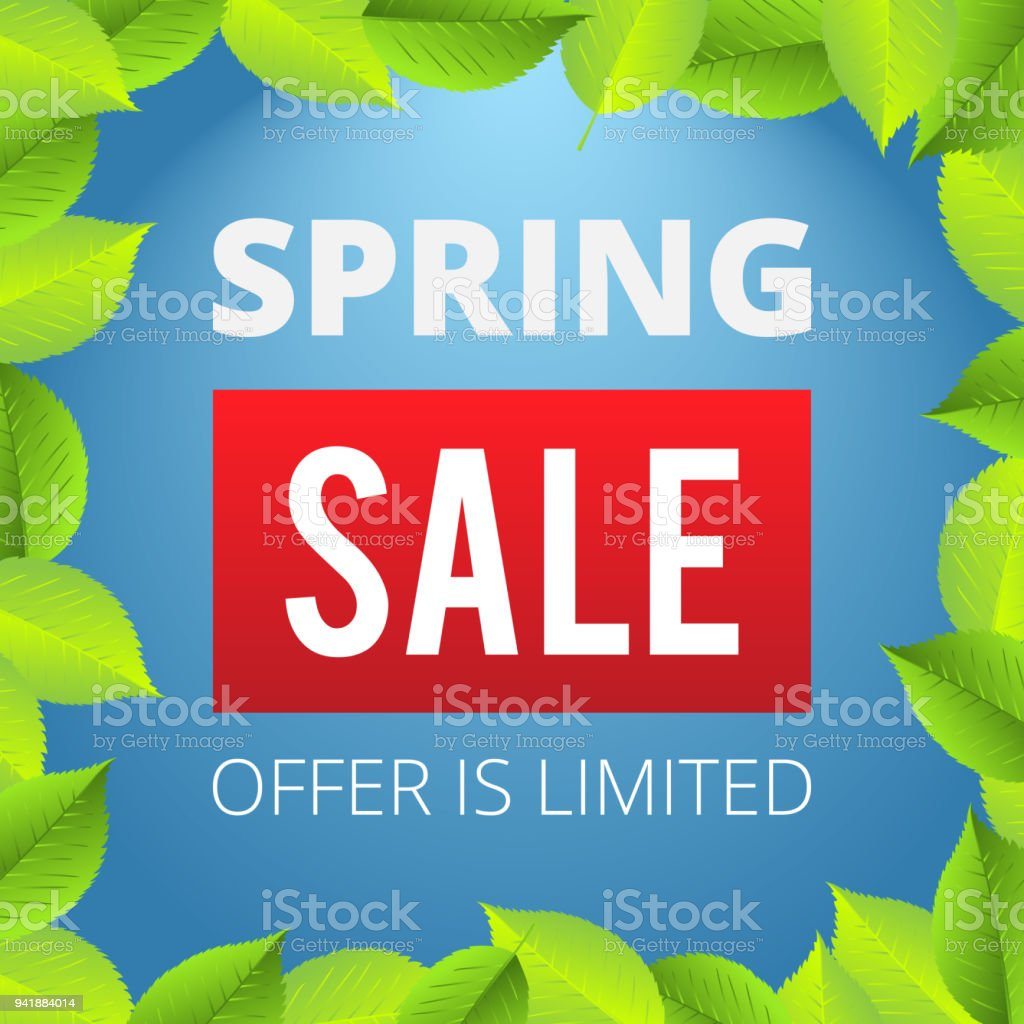 Spring Sale Banner Template With Leafs Vector Illustration Card For