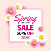 Spring sale banner with blooming flowers background template. Design for advertising, flyers, posters, brochure, invitation, voucher discount.