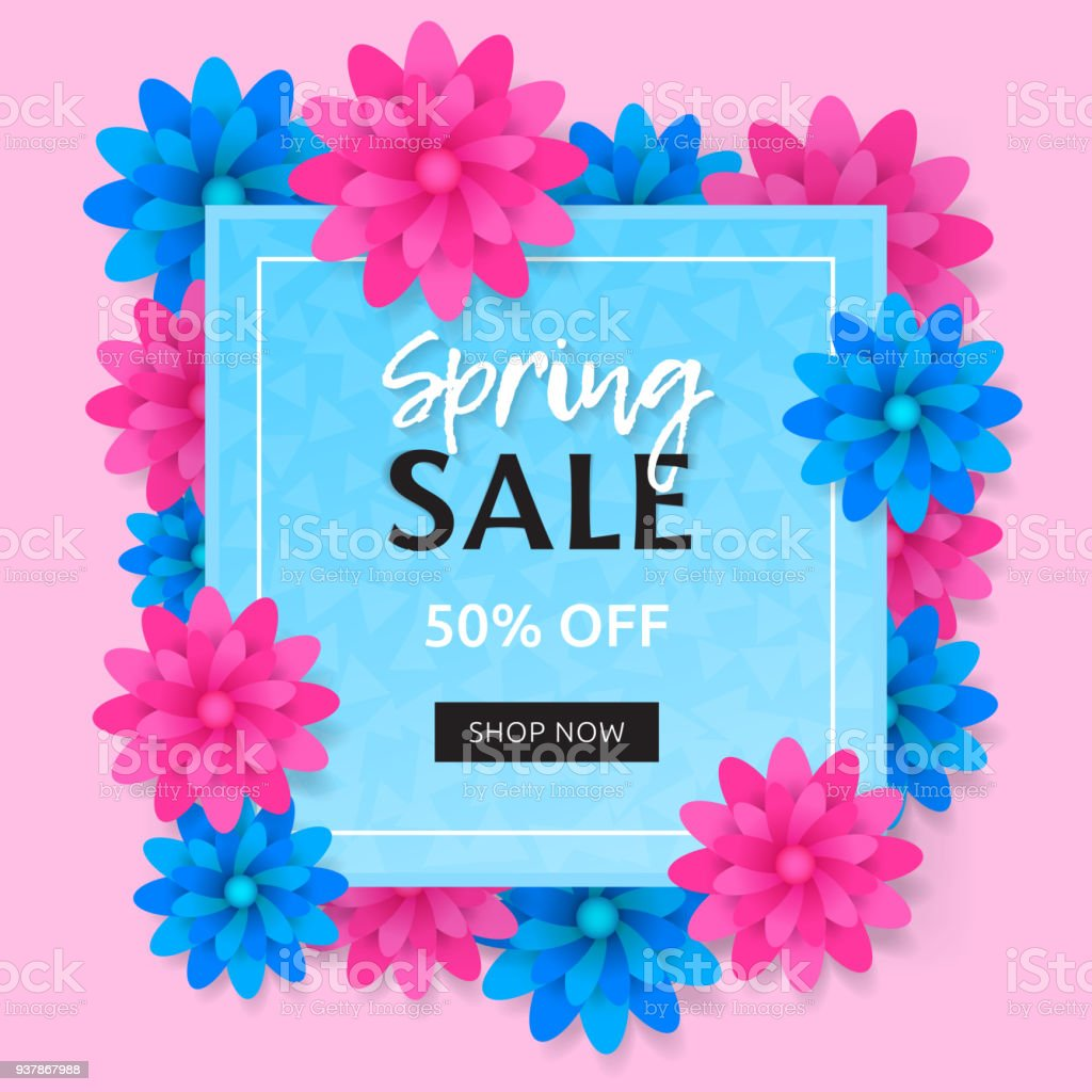 Spring Sale Banner With Blue And Pink Flower Trendy Vector Design Of