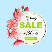 Spring sale banner with cherry, sakura blossom. Place for text. Template for poster, web, invitation, flyer, Mother's and Women's day. Circle concept.