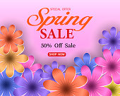 Spring sale banner with flowers on a pink background. The banner is ideal for promotions, magazines, ads, and websites.Large flowers, the inscription spring sale 50% discount. Vector illustration