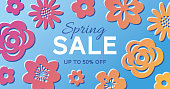 Spring Sale Banner with flowers - Illustration