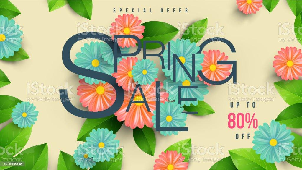 Ilustración de Primavera Venta Banner Con Hoja Verde Y Colores De ...