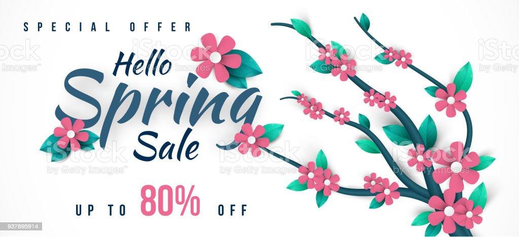 Ilustración de Primavera Venta Banner Con Hojas Verdes Y Flores De ...