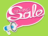 Spring sale banner with loudspeaker and calligraphic inscription in comic speech bubble