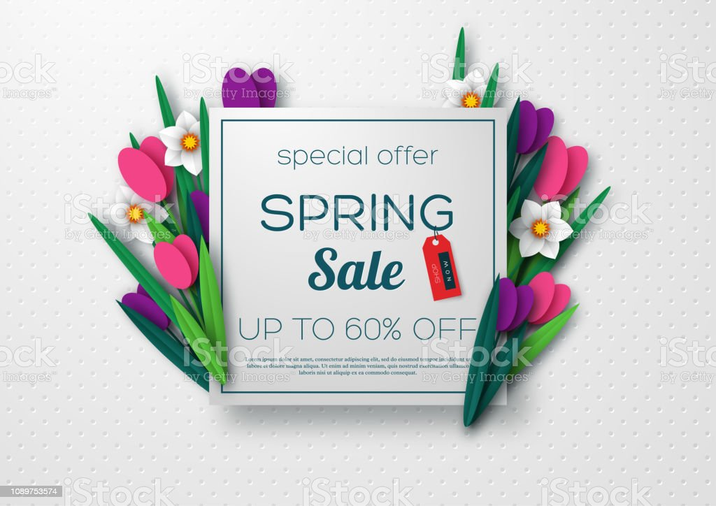Spring sale banner with paper cut flowers. royalty-free spring sale banner with paper cut flowers stock illustration - download image now