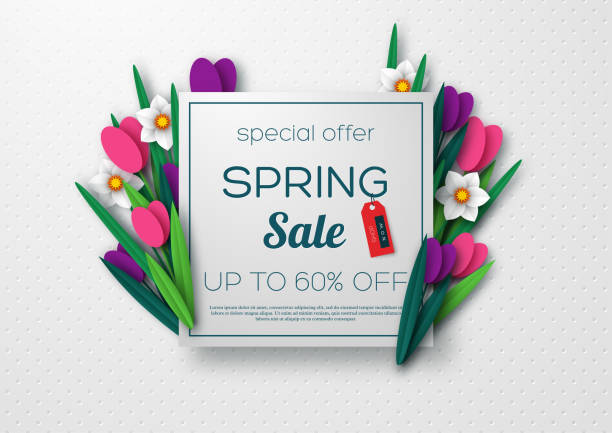 spring sale banner with paper cut flowers. - spring stock illustrations
