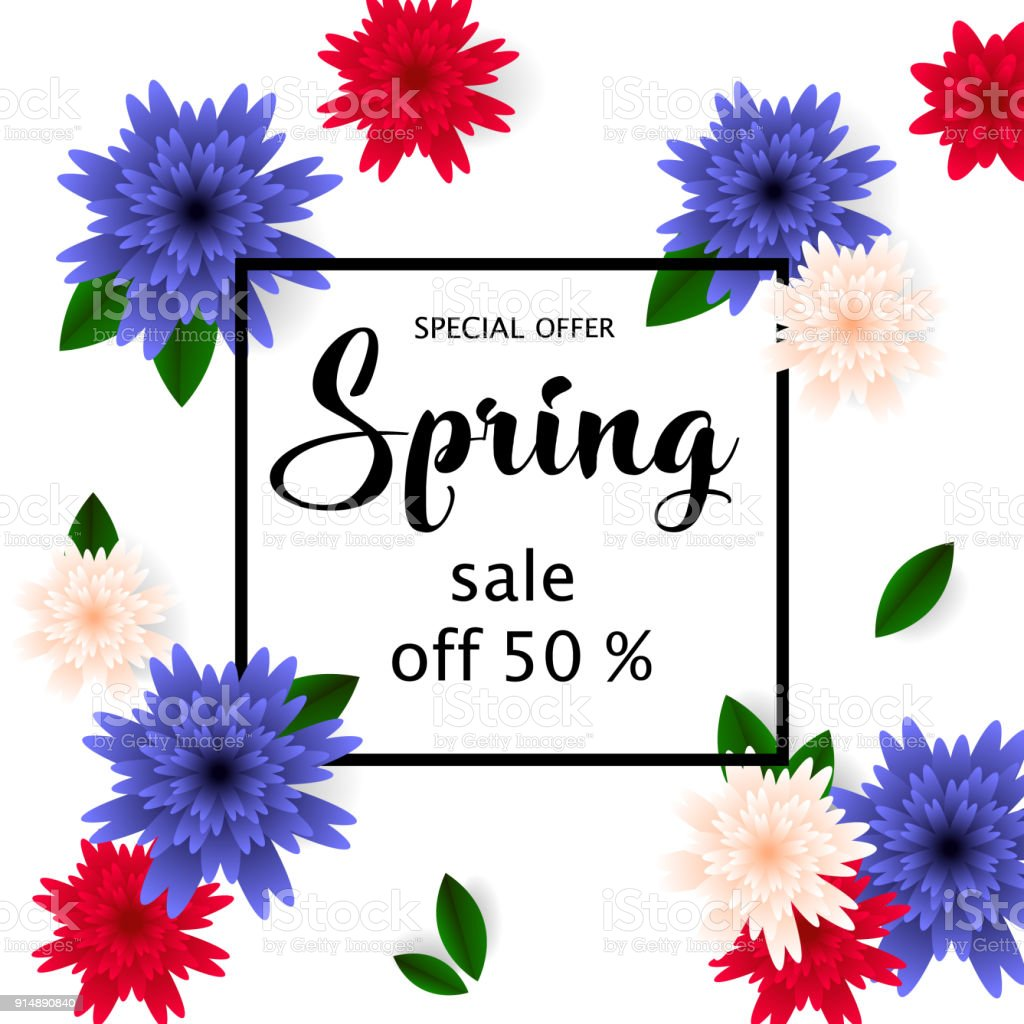 Spring Sale Banner With Paper Flowers For Online Shopping