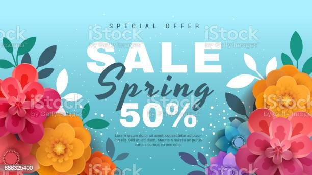 Spring sale banner with paper flowers on a blue background vector id866325400?b=1&k=6&m=866325400&s=612x612&h=7uyzqlzwkns snvg wromqcc2bfdqey1bhzfe1vd ui=