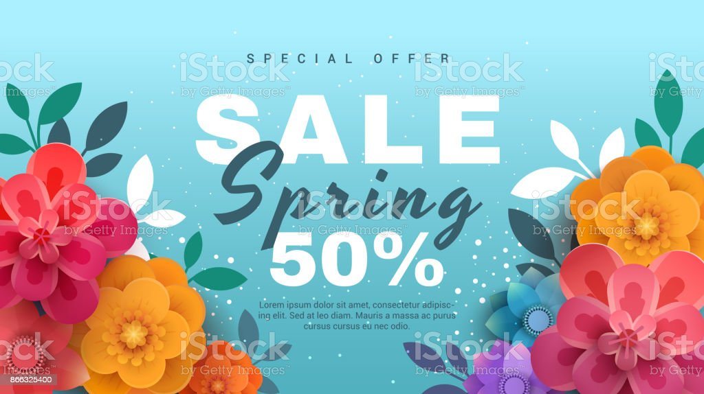 Spring sale banner with paper flowers on a blue background. vector art illustration