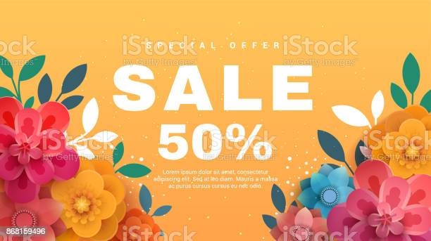 Spring sale banner with paper flowers on a yellow background vector id868159496?b=1&k=6&m=868159496&s=612x612&h=mvv5vrxitdqinqgaog7uqfnz6eshpg vwupabjgr6da=