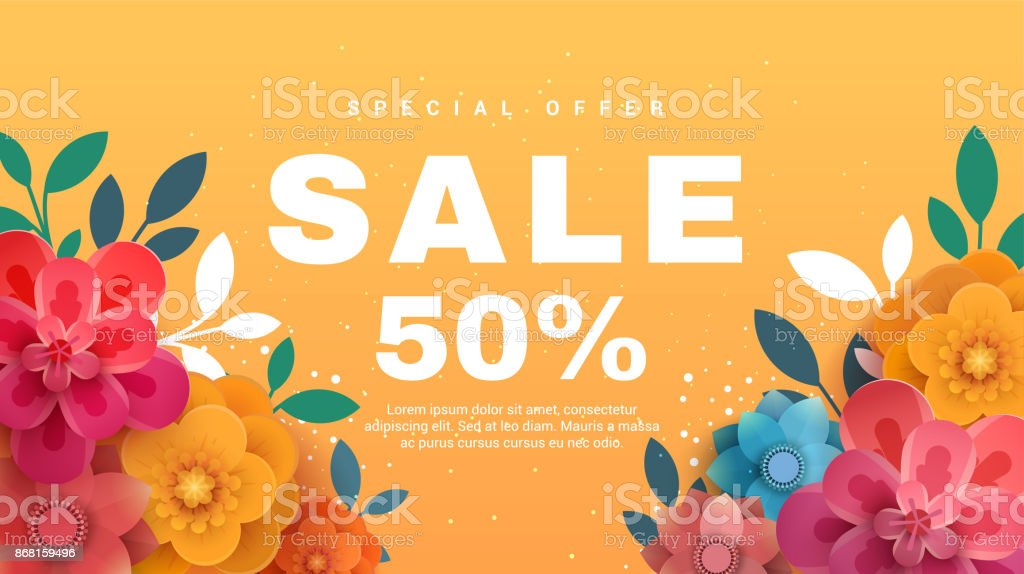 Spring sale banner with paper flowers on a yellow background. vector art illustration