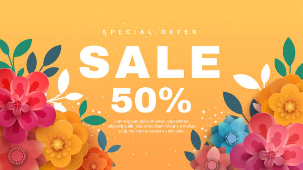 Spring sale banner with paper flowers on a yellow background. Spring sale banner with paper flowers on a yellow background. Vector illustration. Banner perfect for promotions, magazines, advertising, web sites. spring stock illustrations
