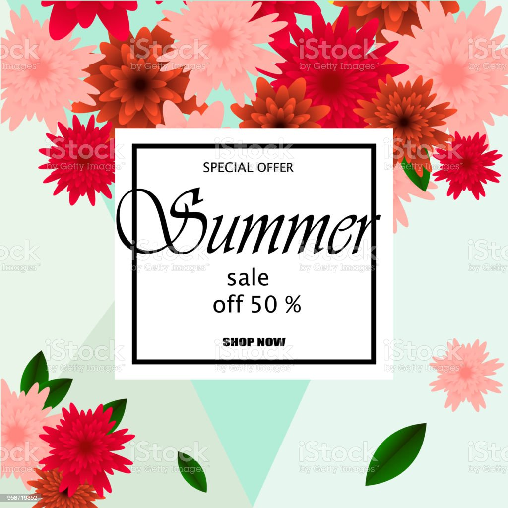 Spring Sale Banner With Paper Flowers On A Yellow Background Vector