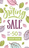 Spring sale. Calligraphic hand written phrase and hand drawn flowers. Vector illustration template, banners, flyers, posters, brochure.