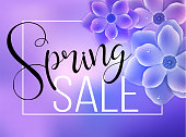 Spring sale card with ultra violet flowers. Trendy season discount banner design for promotions, boutique, advertising and online shop.