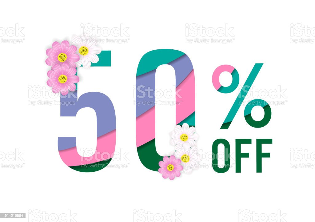 Frühling Verkauf Farbiges Papier Schneiden Hintergrund Mit 50 ...