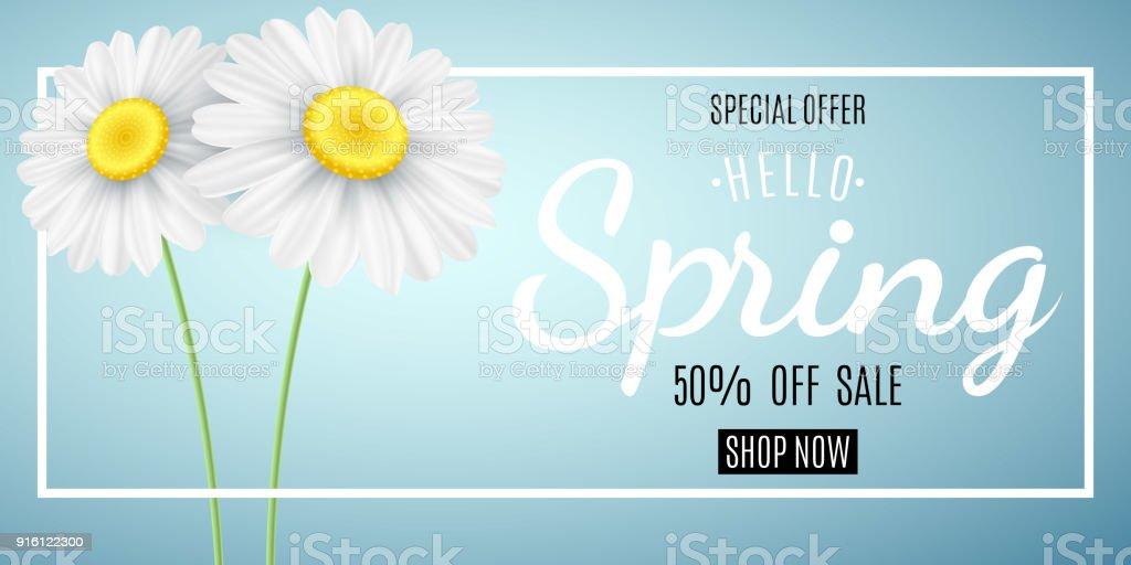 Bahar satış konsepti. Özel Fırsat. Satılık web banner reklam. Mavi bir arka plan üzerinde papatya. Mevsimlik papatya çiçek. Merhaba bahar. Kaligrafi metin. Vektör çizim. EPS 10 vektör sanat illüstrasyonu