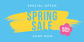 Spring Sale design for advertising, banners, leaflets and flyers. Stock illustration